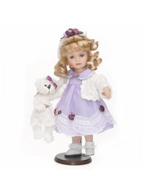 Porcelánová bábika fialové šaty