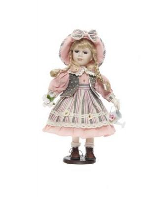 Porcelánová bábika ružové šaty